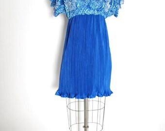 vintage 90s dress, 90s babydoll dress, lace dress, pleated dress, sequin lace dress, blue dress, 90s mini dress, 90 clothing, 90s 1990s, S