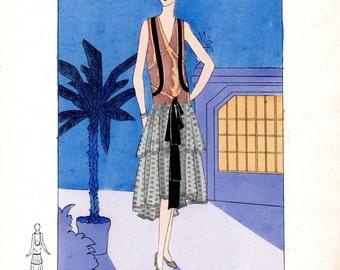 Vintage Fashion engraving - Les Créations Parisiennes - 1929