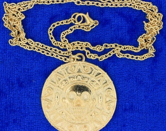 Pirates of the Caribbean Necklace Gold Color Doubloon Coin