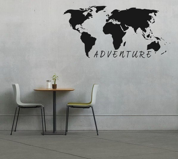 Large World Map Decal Large World Map Wall Decal