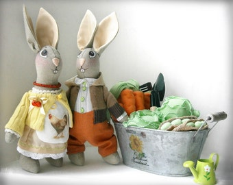 Rabbit doll Bunny doll Rabbit Bunny rabbit Handmade doll Bunny rabbit doll Art doll Primitive rabbit Stuffed rabbit Rabbit toy Interior doll