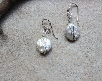Freshwater coin pearl wire wrapped dangle earrings