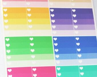8 Ombre Heart Checklist Box Stickers