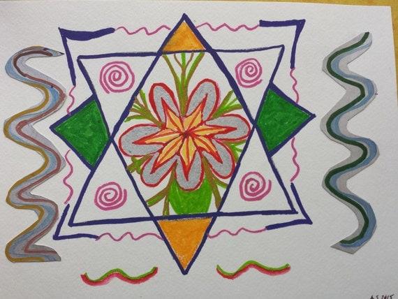 Original Painting - Chakra Painting  - Chakra Art - Yoga Studio Decor - Meditation Painting - Mixed Media Art - Cho Ko Rei Symbol - Healing