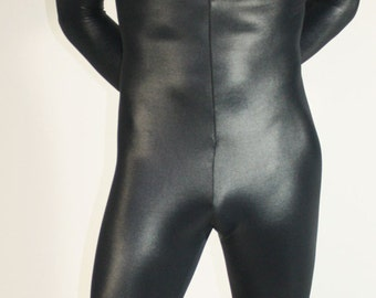 Mens Catsuit in Shiny Black Wet Look Lycra Spandex by Suzi Fox.