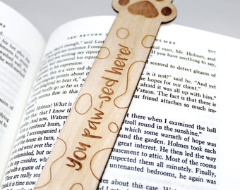 Wooden Bookmark Cat lover Dog lover - Pun - Paw Print 'You Paw-sed here' Cat Dog Animal Bookmark Bookworm gift Funny Bookmark