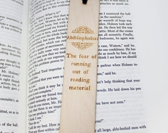 Abibliophobia: Wooden Bookmark Fear of Running out of Reading Material Funny Arrow Book Lover Gift