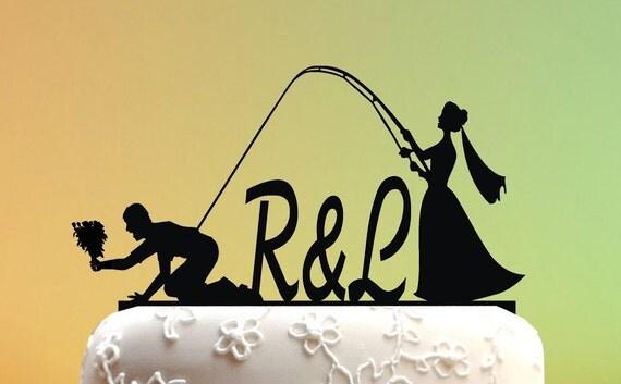 Wedding Cake Topper Cake Topper Fishing Couple By KVcaketopper