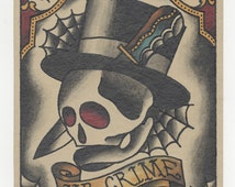 Gangster Skull Top Hat - Traditional Tattoo Print