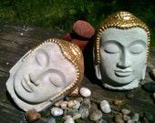 Concrete Buddha Head, Gold Painted Buddha Face, Cement Garden Buddha Head, Buddha Wall Decor,  Buddha Wall Art, Buddha garden statue