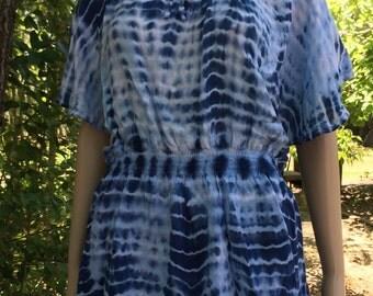 Tie-Dye Indigo Angel Wing Blouse