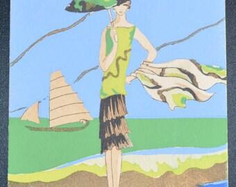 Meschini Pochoir Postcard Art Deco Postcard Hand Painted Postcard