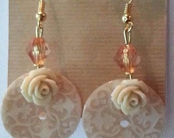 Rose button earring
