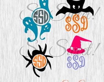 Halloween Monogram Frames SVG / DXF Cut File for Silhouette Spider Ghosts Bat Witch Hat Monogram Frame Cute Kids