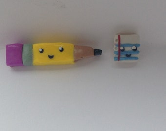 Notebook Paper and Pencil Clay Charm