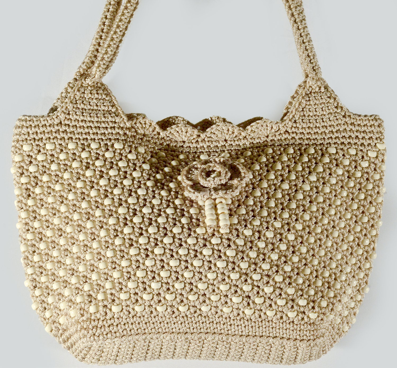 Handstiched bag Handmade bead bag Crochet bead bag Spacious