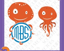 Octopi Design and Monogram Frame SVG DXF EPS Cutting files