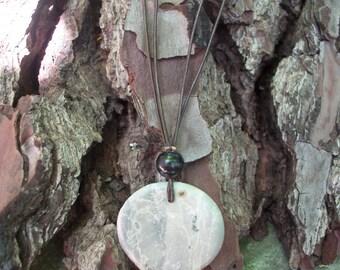 bluish gray soapstone necklace