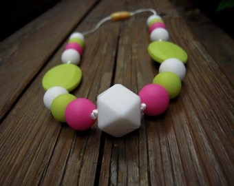 SALE 50%  Teething necklace green-hot pink