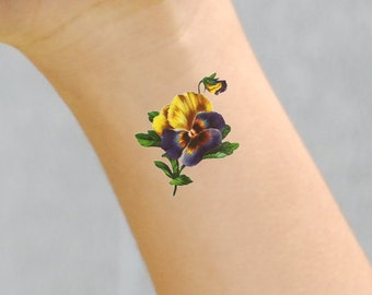 Vintage Antique Peony Flower Temporary Tattoo Pack of 2