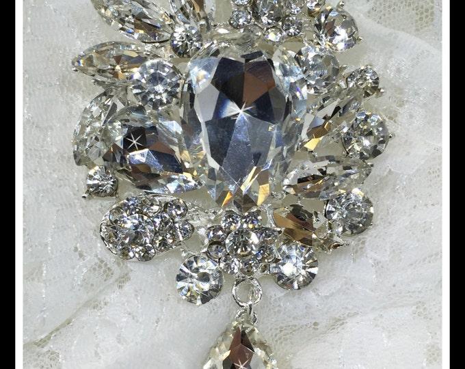 Rhinestone Wedding Bridal Brooch, dangling teardrop, dangling brooch #0151
