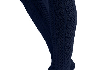 The Original Women's Button Boot Socks with Lace Trim Navy by Boutique Socks