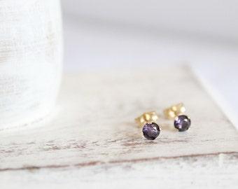 Amethyst Studs - 14k Gold Post Earrings - Gemstone Earrings - February Birthstone Earrings - Simple Gold Posts - Purple Earrings - Jewelry