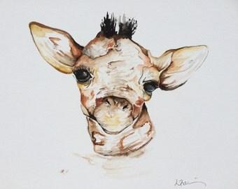 Watercolour Giraffe Painting