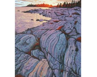 "Georgian Bay Sunset - 7""x 5"" blank greeting card - original oil painting by Mark Berens - www.markberensart.com"