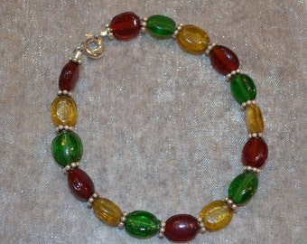 "7"" Sterling Silver & Glass Bead Bracelet"