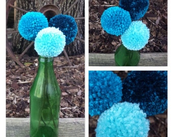 Pom Pom Flower Bouquet, Blue, with Green Antique Bottle