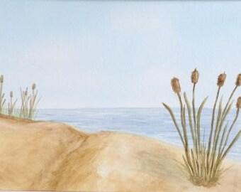 Sandy Beach Original Painting, Watercolor Artwork, 10 x 14, 12 x 16