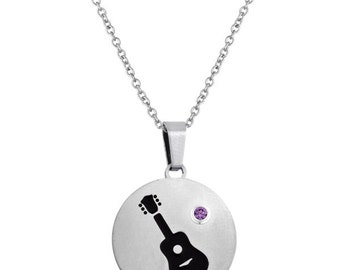 Guitar Disc Pendant With Personalized Birthstone