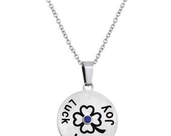 Luck Love Joy Four Leaf Clover Disc Pendant With Personalized Birthstone