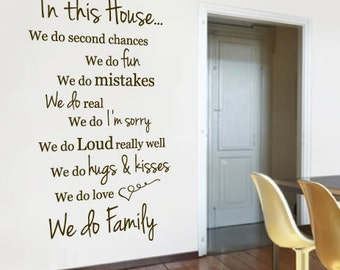 In this house Wall Sticker, Family Home Vinyl Wall Decal, Hall Way Wall Sticker, Motivational, Wall Art