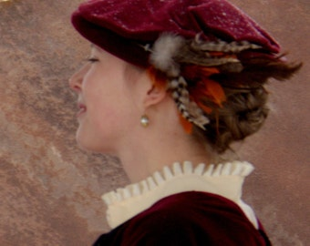Elizabethan Velveteen Flat Cap, Renaissance Hat, SCA, Costume, Reenactment, Historical
