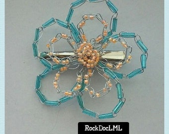 Teal and Sherbert Orange Wire Crochet Flower Hair Clip
