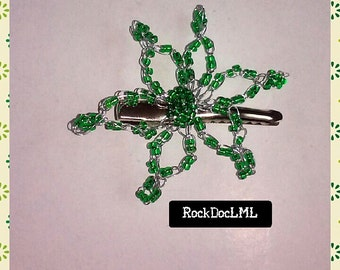 Green Starburst Wire Crochet Hair Pin