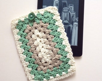 Crochet Kindle Case/ Crochet Kindle Cover/ Crochet Tablet Case in Cream, Sage and Taupe