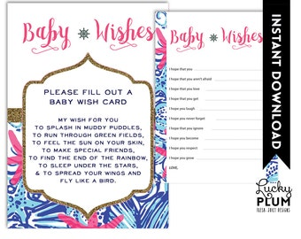 Lilly Baby Shower Baby Wishes / Nautical baby Wishes / Starfish Baby Wishes / DIY Printable /  *Digital file*