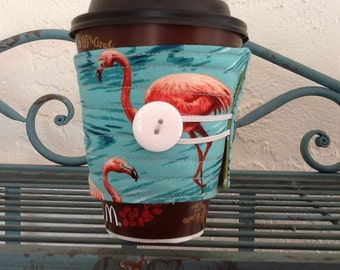 Non Slip Quilted Fabric Coffee Sleeve,  Flamingo and polka dot cozy,  To Go Cup Cozy, Take Out Reusable Beverage Sleeve, coffee Cozy,
