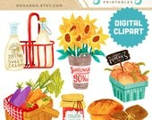 FARMER'S MARKET Digital Collage Clipart Instant Download Illustration Fruit Vegetable Peaches Organic Food Sunflowers Milk Basket Bread