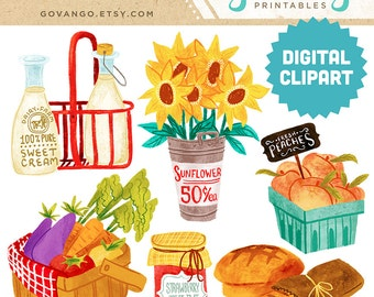 FARMER'S MARKET Digital Clipart Instant Download Illustration Fruit Vegetable Peaches Organic Food Sunflowers Milk Basket Bread Clip Art