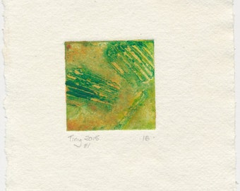 Tiny collagraph 2015 series #1 greens and ochres affordable original art