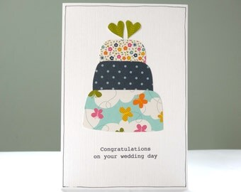 Wedding card - personalised wedding congratulations card - wedding cake - modern greeting cards for summer weddings - Free UK delivery