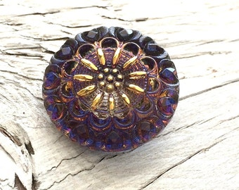 Czech glass button purple and gold 27mm