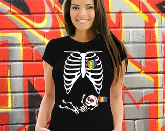 Halloween Skeleton Gay Pride Baby Pregnancy T-shirt Ribcage Zombie Belly T-shirt LGBT Maternity Costume Skeleton XRay Ribcage Mom to be AR-8