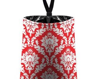 Car Trash Bag // Auto Trash Bag // Car Accessories // Car Litter Bag // Car Garbage Bag - Red and White Damask // Car Organizer