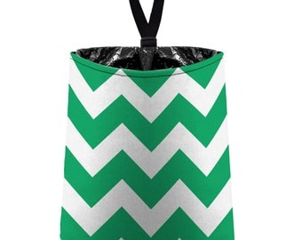 Car Trash Bag // Auto Trash Bag // Car Accessories // Car Litter Bag // Car Garbage Bag - Chevron - Green and White