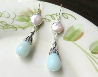 Amazonite Pearl Earrings, White Coin Pearl Earrings, Aqua Blue Dangle Earrings, Long Blue Teardrops, Aqua and Silver Gemstone Earrings
